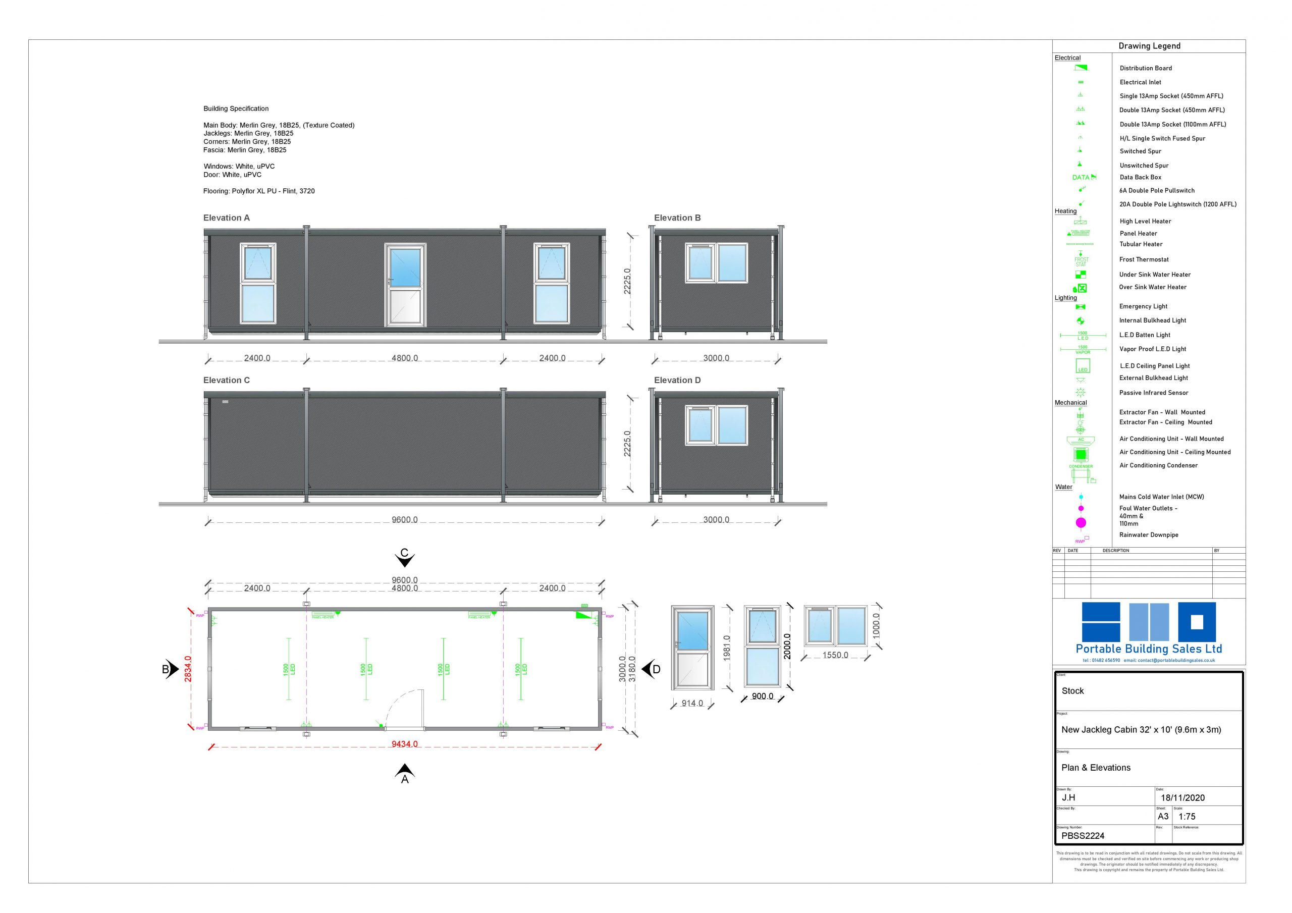 Stock 32' x 10' Portable Building Drawing Image